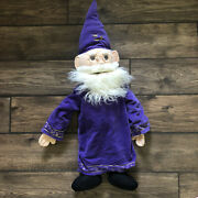 Rare Vintage Sunny Toys Large Wizard Plush Puppet 2000 Glasses Purple Robe 36andrdquo