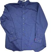 Hyvee Employee Work Button Front Blue Long Sleeve Shirt Menand039s Size L