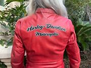Womanandrsquos Red Leather Harley Davidson Riding Jacket X/s