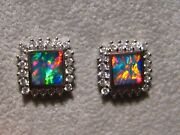 Natural Neon Red Opal Diamond Stud Earrings 18k White Gold 6 Mm Square