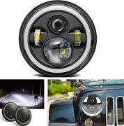 7 Motorcycle Car Led Headlight Drl Dual Color Angel Eye Assembly Waterproof