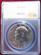 A Certified 1973 D Eisenhower Dollar Anacs Ms 65 Low Shipping Cost