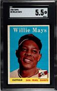 1958 Topps 5 Willie Mays Hof San Francisco Giants Sgc 5.5 Ex+ Awesome Card