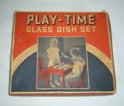 Vintage Akro Agate Playtime 132 Oxblood Glass Childs Toy Tea Set And Original Box