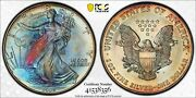 Ms67 1995 1 Ase Silver Eagle Dollar, Pcgs Secure- Pretty Rainbow Toned