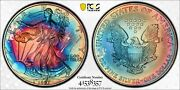 Ms68 1997 1 Ase Silver Eagle Dollar Pcgs Secure- Dual Sided Vivid Rainbow Toned