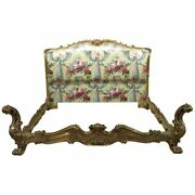 Outrageous Carved Gilded Venetian Italian Carved Oversized Queen Size Bed