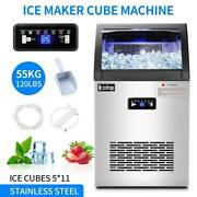 2 In 1 Commercial 55kg Ice Maker W/water Dispenser 120lbs In 24hrs 24lbs Storage