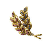 Ruby And Sapphire Double Leaf Brooch/pin Estate Vintage Retro 18k Yellow Gold