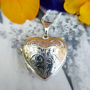 Women's Silver Photo Locket And Chain, 925 Sterling Heart Necklace, Vintage Style