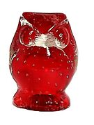 Vtg Lefton Owl Figurine Art Glass Red And Clear. Hand-blown