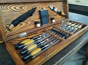 Set Stainless Steel Skewer Wooden Case Gift Grill Bbq Tool Bbq Accessory Set