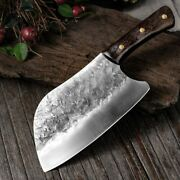 Hunters Serbian Chef Knife Steel Kitchen Knives Cleaver Forged Outdoor Meat Knif