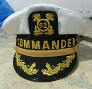 Skipper's Yachting Hat Black Replica Cap Hand Embroidery On Peak And Badge