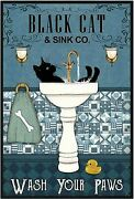 Retro Metal Tin Sign Black Cat Wash Your Paws Vintage Home Coffe Bar Wall Decor