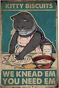 Vintage Metal Tin Sign Kitty Biscuits Retro Poster Home Bar Kitchen Wall Decor