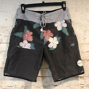 Rip Curl Mens 32 Gray Floral Lay Days Side Pocket 8 Inseam Boardshorts