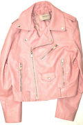 Zara Basic Fashion Biker Jacket Faux Leather Pale Pink S Excellent Condition