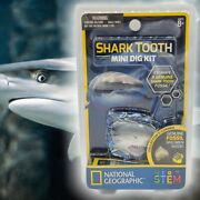 National Geographic 🦈shark Tooth 🦷 Mini Dig Kit Genuine Fossil Stem New