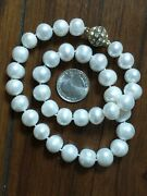 Huge Real Cultured Near Round White 13-14mm Pearls Pearl Necklace W/magnet Clasp