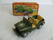 Vintage Tn Nomura Japan Tin Lithograph Friction Military Willy's Jeep W/ Box Ex