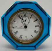 1886 E.n. Welch Jewel Cobalt Blue Octagon Glass Time And Strike Paperweight Clock