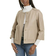 Loro Piana Women's Taupe Leather Jacket W/ Fur Lined Interior
