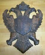 Old Wooden Carved Double Eagles Crown Crest Shield Figural Bird Plaque Sign Ad