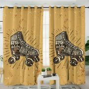 Yellow Retro Vintage Roller Skate Window Living Room Bedroom Curtains Drapes
