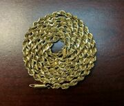 Vintage 10k Yellow Gold 4mm 30 Long Rope Twist Necklace Chain 51.2 Grams. Heavy