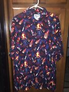 Big Dogs Blue Barbeque Rayon Button Front Mens Shirt Xl Bbq Barbecue Nwt New