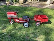 Antique Vintage 1960andrsquos Murray Pedal Tractor With Dump Trailer
