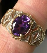 Vintage 14k Yellow Gold 4.58g And Simulated Alexandrite 9mm Oval Band Sz 8