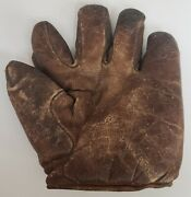 Vintage Early 1900and039s Spalding Baseball Glove Mitt Split Finger Full Sewn T Web