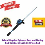 Zebco Slingshot Spincast Reel And Fishing Rod Combo 5-foot 6-in 2-piece Rod Bl