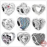 Genuine 925 Sterling Silver Sparkling Heart Dog Paw Charms Without Pandora Pouch