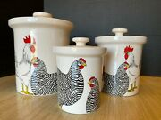 Fitz And Floyd Rooster And Hens Coq Du Village Canister Set