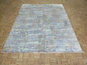 8 X 10and0391 Hand Knotted Multi Colored Modern Abstract Oriental Rug With Silk G9166