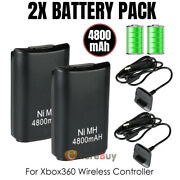 For Microsoft Xbox 360 Wireless Controller 2x Battery Packs+ Charger Cable Black