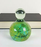 Vintage Mdina Sea And Sand Green Gold Glass Bottle Dump Paperweight 4 420g