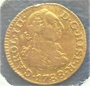 .875 Gold 1788 M Spain 1/2 Escudo Charles Iii Madrid Mint Nice Circulated Wb 6