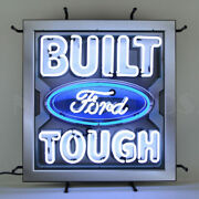 Built Ford Tough Neon Sign W/ Backing Hot Rod Racing Car Gameroon Light Mancave