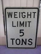 Vintage Weight Limit 5 Tons Metal Street Sign Chicago Illinois 24 X 18