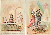 Two Antique French Victorian Advertising Cards, Fairy Tale Motifs