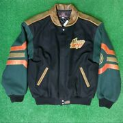 Vintage Mountain Dew Jh Design Leather/wool Button Up Varsity Jacket | Adult Xl