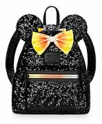 Loungefly Minnie Mouse Halloween Spangle Mini Backpack Candy Corn Black Orange