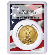 2021 50 American Gold Eagle 1 Oz. Pcgs Ms69 Flag Frame
