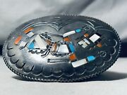 Intricate Heavy Patina Vintage Navajo Turquoise Kachina Sterling Silver Buckle