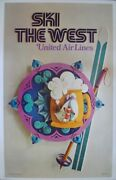 United Airlines Ski The West Vintage Travel Poster 1972 25x40 Nm Linen Backed