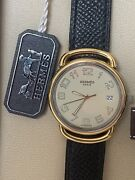 Hermes Mens Pullman 18k Gold Ss Steel New With Box And Papers And Tags 30 Mm